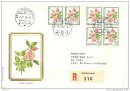 """TH - 12138 - Superbe Enveloppe Suisse Recommandée Avec Timbres """"roses"""" Et Cachet De Rosental 1982 - 1er Jour Des Timbres - Roses"""