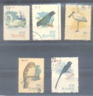 COREE DU NORD AÑO 1962 - YVERT NRS. 388-92 COMPLETE SET - SERIE COMPLETA OISEAUX DENTELES 11 OBLITERES - Korea (Noord)