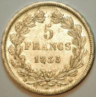 5 FRANCS ARGENT (25.11 Grammes) LOUIS PHILIPPE TETE NUE 1835 K BORDEAUX TTB+ - France