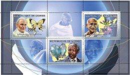 Guinea 2006 Sht/3-Pope/Butterfly,Gandhi/Orchid, Mandela/Mineral #Mi 4263-5 - República De Guinea (1958-...)