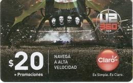 TARJETA DE ARGENTINA DEL GRUPO U2 TOUR 360 (pequeña Marca) - Música