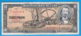 CUBA -  10 Pesos 1960 MBC+  P-79 Firmado CHE - Cuba