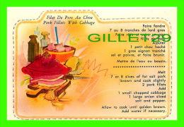 RECIPES - RECETTES - FILET DE POC AU CHOU DU QUÉBEC - PORK FILLETS WITH CABBAGE FROM QUEBEC - - Recettes (cuisine)