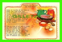 RECIPES - RECETTES - OMELETTE AU P'TIT LARD DU QUÉBEC - SALT PORK OMELET  FROM QUEBEC - - Recettes (cuisine)
