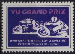 1989 Yugoslavia / Rijeka Fiume - Motorbike Motorcycle Bike WORLD CHAMPIONSHIP - LABEL / CINDERELLA / VIGNETTE - Motorbikes