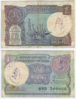 Banknote 1 Indische Rupie Indien India Rupee IR Re Rs Rupien Rupees Geldschein Indian Note - Indien