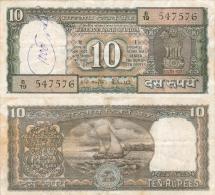 Banknote 10 Indische Rupien Indien India Rupees IR Re Rs Rupie Rupee Geldschein Indian Note - Indien