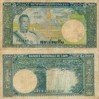 Banknote 200 Kip Laos LAK Lao Geldschein Asien Asia Geld Indochina Indochine Note Money - Laos