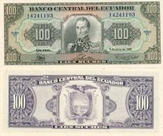 Banknote 100 Ecuadorianische Sucres ECS Ecuador 1988 Ecuadorianischer Sucre Geld Note Money - Ecuador