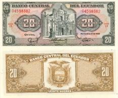 Banknote 20 Ecuadorianische Sucres ECS Ecuador 1988 Ecuadorianischer Sucre Geld Note Money - Ecuador