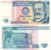 Banknote 10 Intis Peru Inti PEI-V Diez 1987 Geldschein Money Geld Note Peruano Money - Peru