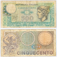 Banknote 500 Lire Lira Italien Italia Italy Geldschein Bank Note Money Geld ITA - [ 2] 1946-… Republik