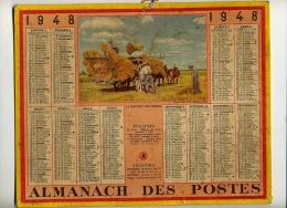 """CALENDRIER ALMANACH POSTES 1948 """" Rentrée Des GERBES De Foin""""  VIE AGRICOLE / NANCY Et CARTE Des CHEMIN DE FER - Formato Grande : 1941-60"""