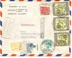 LBR35 - COLOMBIE  LETTRE AVION MEDELLIN / LUZERN 31/5/1947 - Colombia