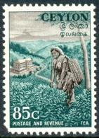 CEYLON 1954 Tea Plantation, 85c. Black And Deep Blue-green, MNH - Agriculture
