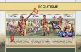 Guinea. 2013 Scouts. Butterflies.  Sheet Of 3v + Bl (117) - Schmetterlinge