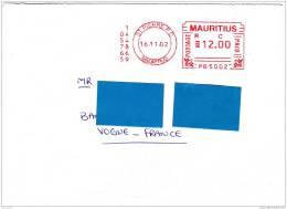 Z] Lettre Maurice Mauritius Superbe Affranchissement Mécanique Superb Meter Stamp 2002 - Maurice (1968-...)