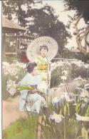 7792 - Japon  2 Geisha Avec Iris Et Ombrelle / Japan 2 Geisha With Iris Flowers And Umbrella - Japon
