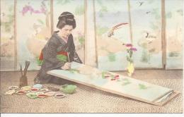 7796 - Japon Geisha Peintre Sur Panneau / Japan Geisha Painting - Japon