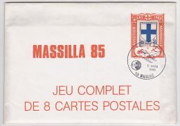 MASSILIA 1985 - 8 Cartes Postales Sur Le Thème Henri Fabre / Hydravion CAMS / Le Canard Etc - Salon CNEP - Poste Aérienne