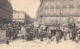 PARIS 8°  ( Série  LL N°208  )  Rue St LAZARE Animée EN 1900  STATION Des OMNIBUS Nombreux Voyageurs HOTEL TERMINUS - Arrondissement: 08
