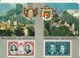 LIECHTENSTEIN 1966 - POSTCARD COMBINED WEDDING FRANZ JOSEP /GEORGINE + MONACO WEDDING RANIER Ii / GRACE  ADDR W 1 ST OF - Cartes Postales