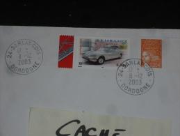 SARLAT CDIS - DORDOGNE - CACHET ROND MANUEL SUR YT 3617 ET MARIANNE LUQUET - VOITURE CITROEN DS AMBULANCE - - Marcophilie (Lettres)