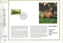 Document Philatélique De Monaco - Les Chiens - Le Teckel - Oblitération Du 03/05/76 (1er Jour) - Chiens