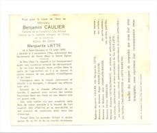 """Faire-part Décès Mr Benjamin CAULIER - Trésorier De La Fanfare """" La Lyre Amicale"""" SAINT-SAUVEUR 1895/1964(M5) - Obituary Notices"""