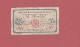 - Billet De 1 Franc - Chambre De Commerce De Lyon - 1916 - 3e Série - Voir état - WW1 - Chambre De Commerce