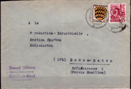 Germania-SP0253 (Busta Da Pfullendorf, Il 9.11.47, Con Affrancatura Mista). - Zone Française