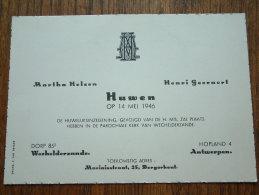 Martha HELSEN - Henri GEERAERT Wechelderzande / Antwerpen 14 Mei 1946 ( Zie Foto´s Voor Detail ) ! - Mariage