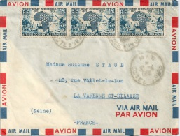 COTE D'IVOIRE Bande De 3 Sur Lettre Par Avion - Côte-d'Ivoire (1892-1944)
