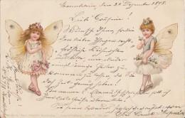 AK 2 Mädchen Mit Schmetterlingsflügeln Gelaufen 22.12.98 - Kinder