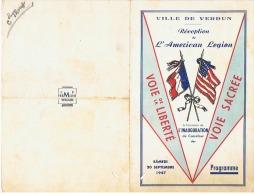 VILLE DE VERDUN  RECEPTION DE L'AMERICAN  LEGION  Samedie  20 Septembre 1947 - Diplômes & Bulletins Scolaires