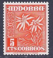 Andorra, Spanish, Scott # 38 MNH Flowers, 1953 - Spanish Andorra