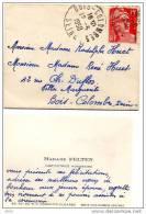 Carte De Visite Mme FELTEN Institutrice , Adressée à Rodolphe Et René HUET - Villa Marguerite - BOIS COLOMBES - 1950 - Cartes De Visite