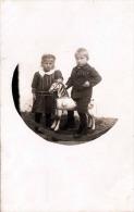 Mädchen Und Bub Mit Schaukelpferd Fotokarte 1915 - Kinder