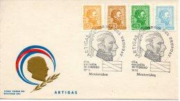 URUGUAY. N°873-6 Sur Enveloppe 1er Jour (FDC) De 1974. Général Artigas. - Militares