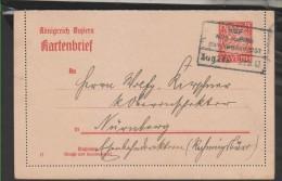 Kartenbrief,K6/02 ,Bahnpost-o,Hof Nürnberg (3530) - Bayern