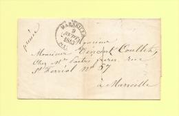Lettre Ecrite A Genes - Consulat De France - Deposee A Marseille - Taxe Locale - 9 Sept 1843 - Marcophilie (Lettres)