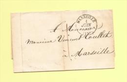 Lettre Ecrite A Genes - Consulat De France - Deposee A Marseille - Taxe Locale - 1 Juin 1843 - Marcophilie (Lettres)