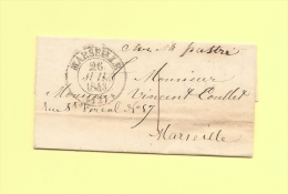 Lettre Ecrite A Genes - Consulat De France - Deposee A Marseille - Taxe Locale - 26 Juil 1843 - 1801-1848: Précurseurs XIX