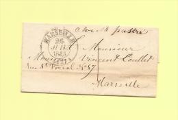 Lettre Ecrite A Genes - Consulat De France - Deposee A Marseille - Taxe Locale - 26 Juil 1843 - Marcophilie (Lettres)