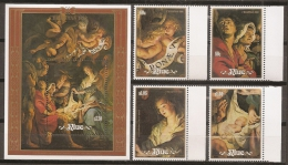 PINTURA/RUBENS - NIUE 1988 - Yvert #540/43+H112 - MNH ** - Rubens