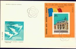 DV3-10a ROUMANIA 1980 FDC PHILEX BL 174 + 175 EUROPE CEPT FOLLOWER EUROPEAN SECURITY CONFERENCE. - 1980