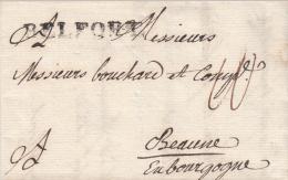 BELFORT [41 Mm] Noir Sur LAC Du 2.12.1774 Adressée à Beaune - Alsace-Lorraine