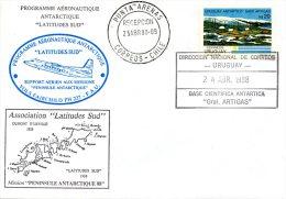 """URUGUAY. Enveloppe Commémorative De 1988. Programme Aéronautique Antarctique. Association """" Latitudes Sud"""" - Polar Flights"""