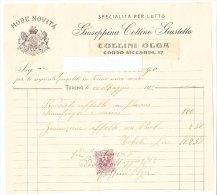 PO0539C# Fattura NEGOZIO COLLINI - TORINO - SPECIALITA' PER LUTTO MODE NOVITA' 1912 Con Marca Da Bollo - Italia
