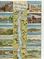 DER RHEIN MAPA DE CIUDADES EN LAS COSTAS DEL RHIN   OHL - Landkaarten